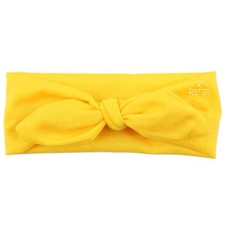 Knoop - wrap haarband effen geel