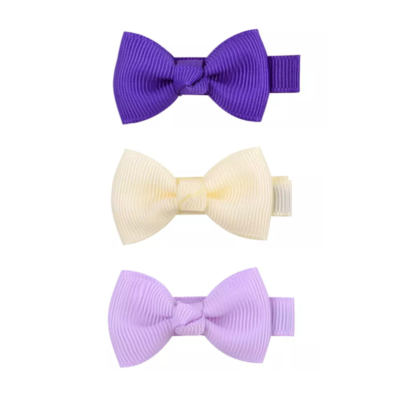 Set haarstrikken klein purple lilac cream