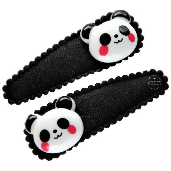 Haarspeldjes met panda zwart