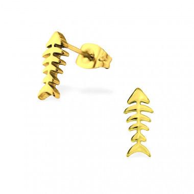 Kinderoorbellen chirurgisch staal fishbone gold plated
