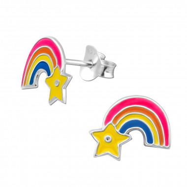 Kinder oorbellen zilver regenboog met ster