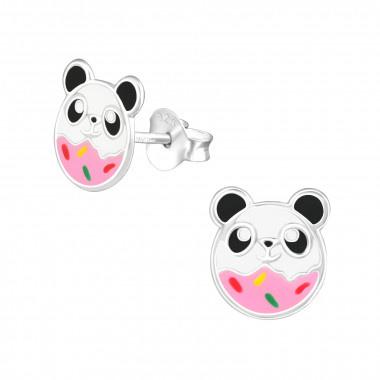 Kinderoorbellen zilver panda in donut