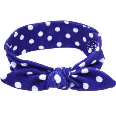 Knoop - wrap haarband blauw met stippen