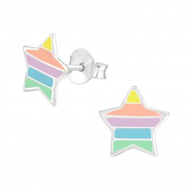 Zilveren kinderoorbellen ster met strepen