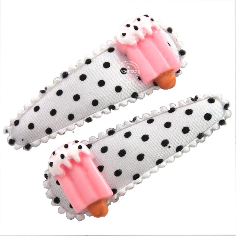 Haarspeldjes met ijsjes roze zwart wit