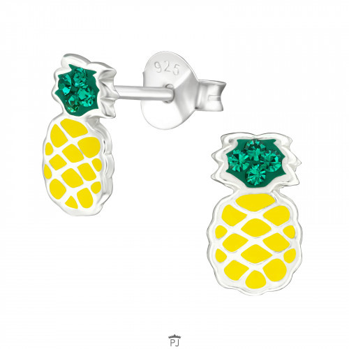 Kinder oorbellen zilver ananas