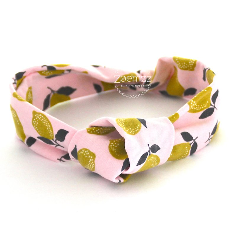 Haarband met knoop roze met citroenen