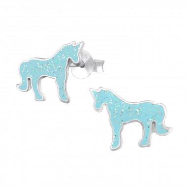 Kinderoorbellen unicorn glitters blauw