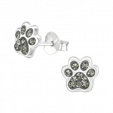 Zilveren kinderoorbellen pootafdruk hond