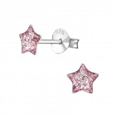 Kinderoorbellen zilver ster roze