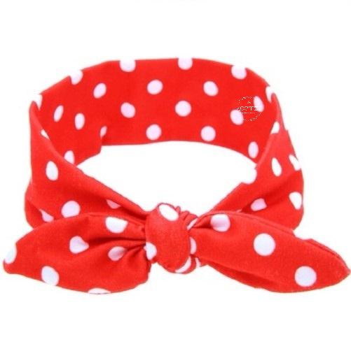 Knoop - wrap haarband rood met stippen