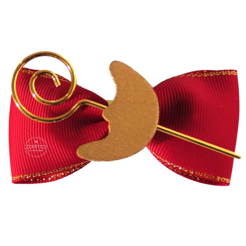 Haarstrik rood Sinterklaas met staf en maan