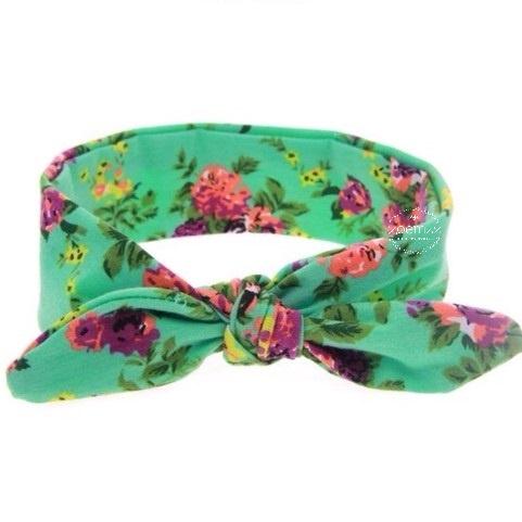 Knoop - wrap haarband groen bloemen