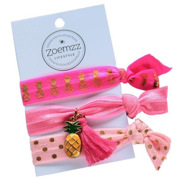 Ibiza elastiek/armband pink pineapple