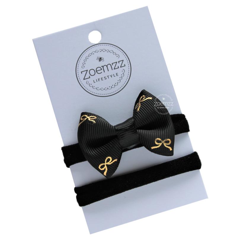 Haarbandje met strik zwart gouden strikjes