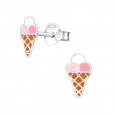 Kinderoorbellen zilver ijsjes
