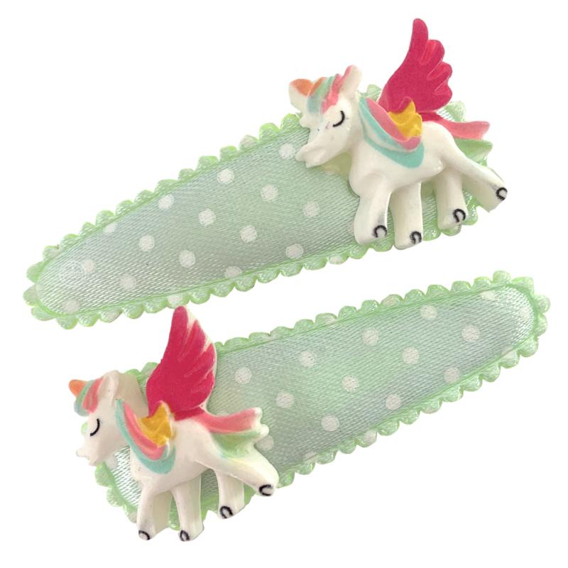 Haarspeldjes mintgroen met unicorn
