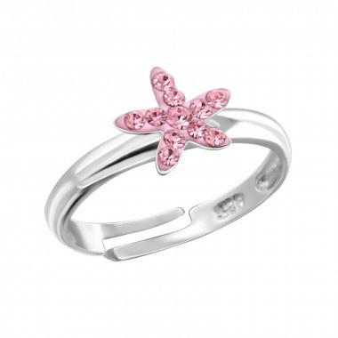 Zilveren kinderring zeester roze