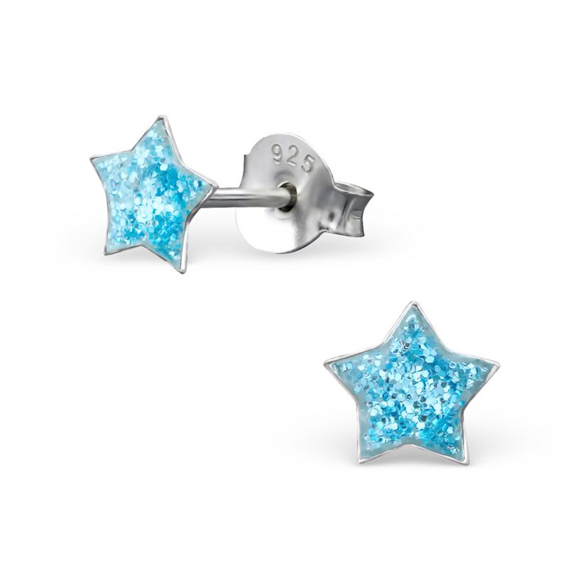 Kinderoorbellen zilver ster blauw