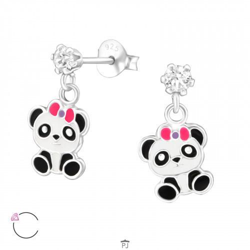 Kinderoorbellen zilver panda hangers kristal