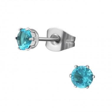 Kinderoorbellen chirurgisch staal knopjes blauw