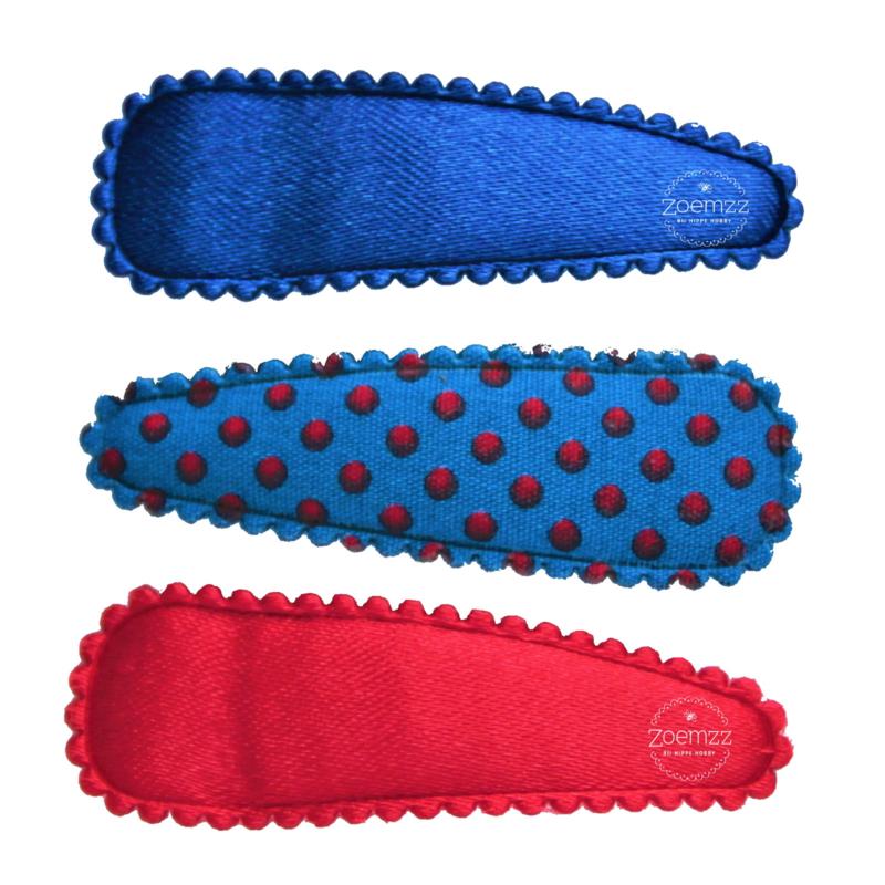 Haarspeldjes set 3 stuks blauw rood
