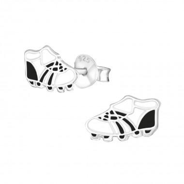 Kinderoorbellen zilver voetbalschoen