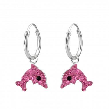 Kinderoorbellen zilver hoops dolfijn roze