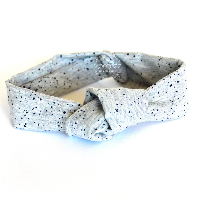 Haarband met knoop grijs met blauw