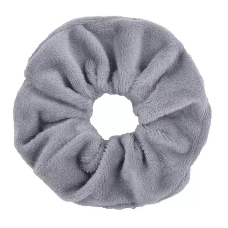 Scrunchie velvet lichtgrijs