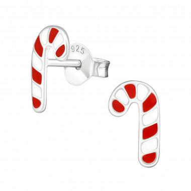 Kinder oorbellen zilver kerst zuurstok