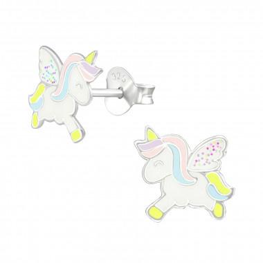 Kinderoorbellen zilver unicorn