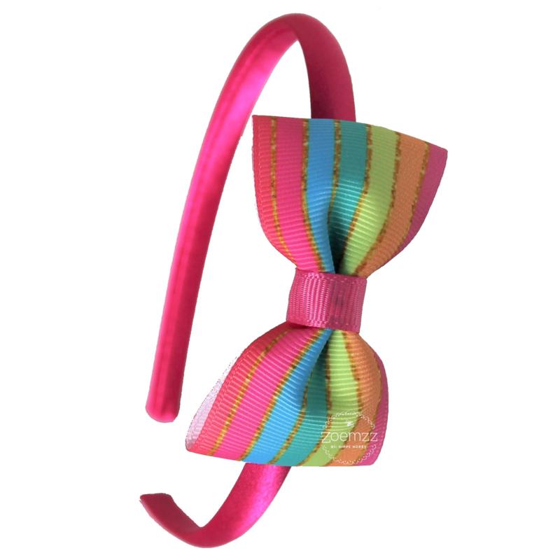 Diadeem met strik rainbow