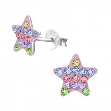 Kinderoorbellen zilver ster met steentjes