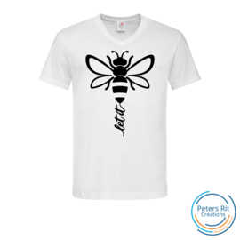 Heren T-shirt V-hals korte mouwen | LET IT BEE