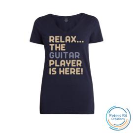 Dames T-shirt V-hals korte mouwen   GUITAR PLAYER