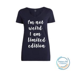 Dames T-shirt V-hals korte mouwen   NOT WEIRD LIMITED EDITION