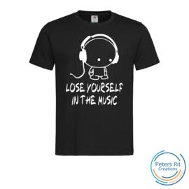 Heren T-shirt R-hals korte mouwen | LOSE YOURSELF IN THE MUSIC
