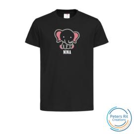 Kinder T-shirt  korte mouwen | OLIFANT MET NAAM ROZE geborduurd/bedrukt