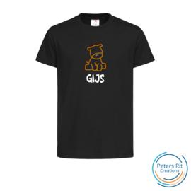 Kinder T-shirt  korte mouwen | GIRAF MET NAAM geborduurd/bedrukt