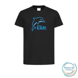 Kinder T-shirt  korte mouwen | DOLFIJN MET NAAM geborduurd/bedrukt