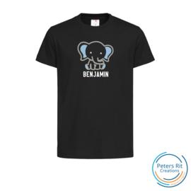 Kinder T-shirt  korte mouwen | OLIFANT MET NAAM BLAUW geborduurd/bedrukt