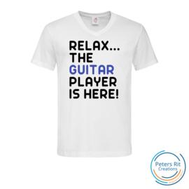 Heren T-shirt V-hals korte mouwen | GUITAR PLAYER