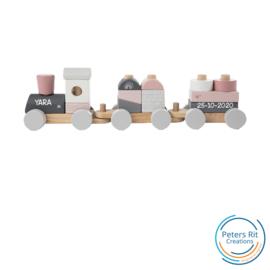 Houten trein | ROZE met GEBOORTE GEGEVENS