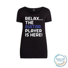 Dames T-shirt R-hals korte mouwen   GUITAR PLAYER