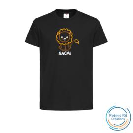 Kinder T-shirt  korte mouwen | LEEUW MET NAAM geborduurd/bedrukt