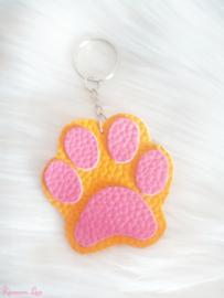 Neon Oranje hondenpoot sleutelhanger