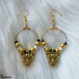 Luxe Leopard oorbellen hangers goud