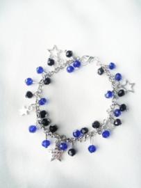 Bedelarmband: Zwart & Kobalt blauw