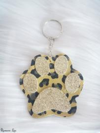 Leopard hondenpoot sleutelhanger